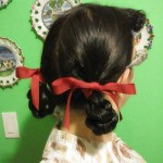 1940s pigtail loop braids