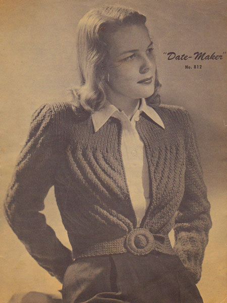 Vintage Knitting Pattern Date Maker Cardigan By Gum By Golly