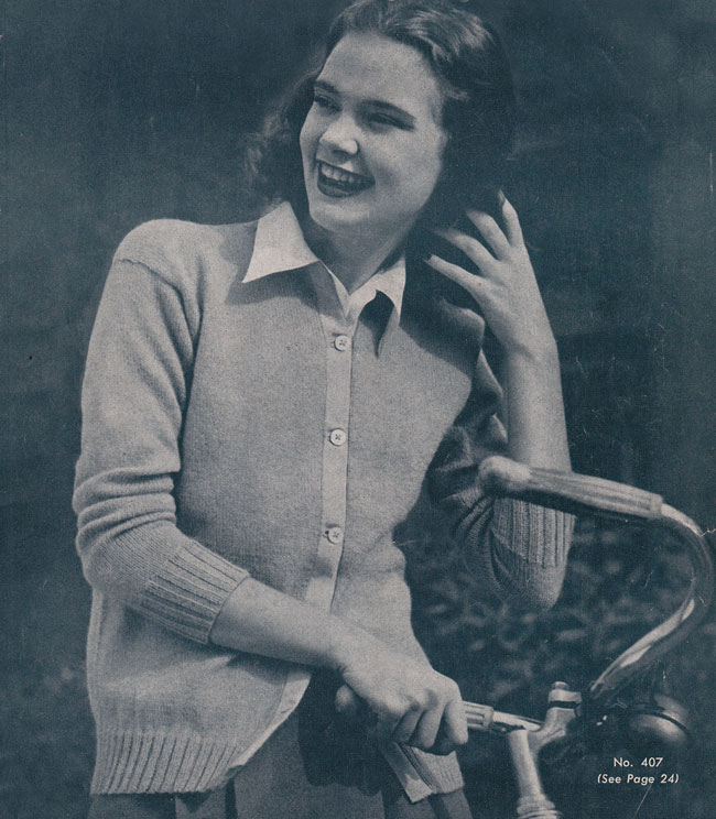 Vintage Knitting Pattern Campus Compliments Cardigan By Gum By Golly