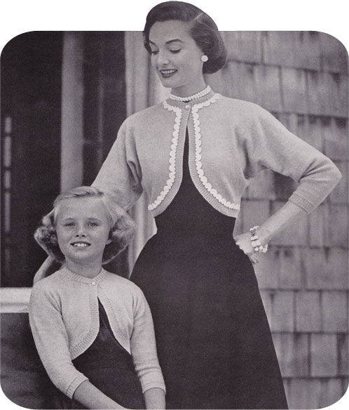 Vintage Knitting Pattern 1954 Mother Daughter Shrug By Gum By
