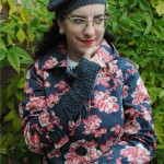 Matching gray beret & fingerless mitts