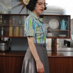 My 40s gray wool skirt & feedsack blouse
