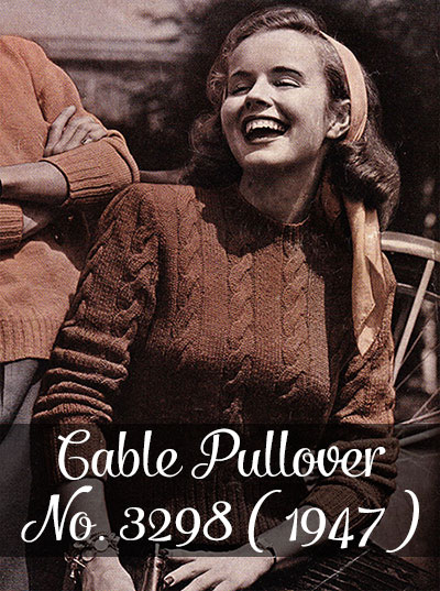 Free Vintage Knitting Pattern Cable Pullover No 3298 1947 By