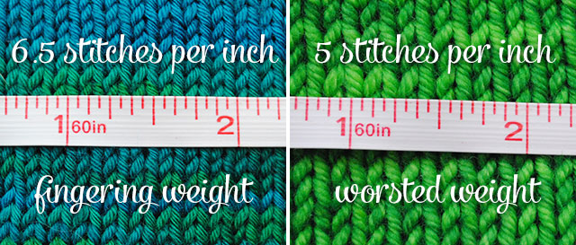 yarn weight and gauge comparison