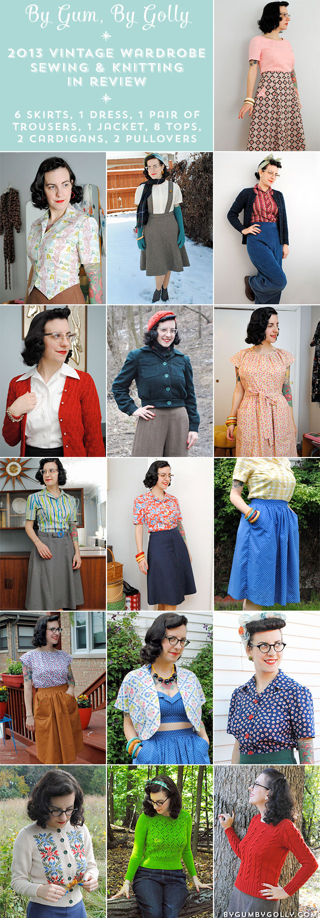 By Gum, By Golly's 2013 vintage sewing & knitting projects