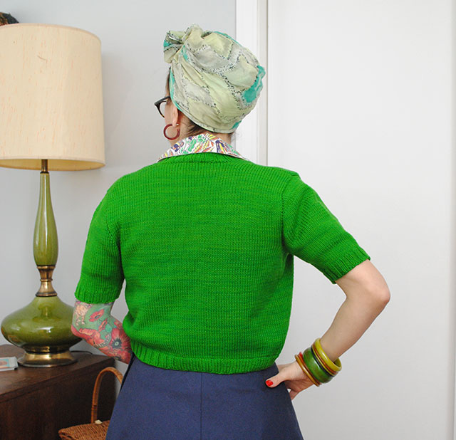 Knit for Victory green bolero