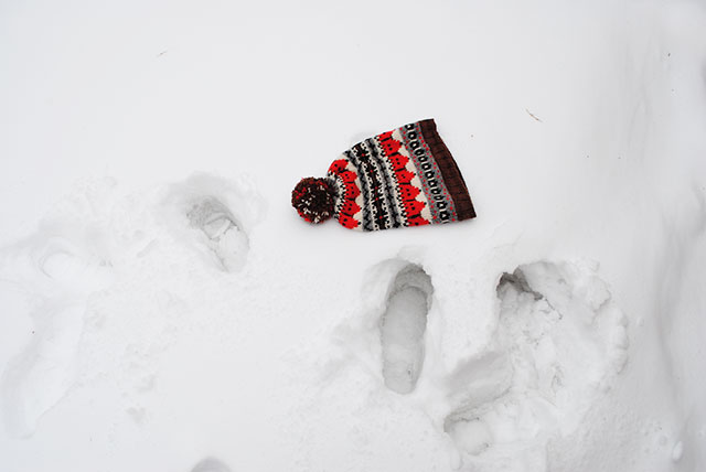 Fox Isle hat in the snow