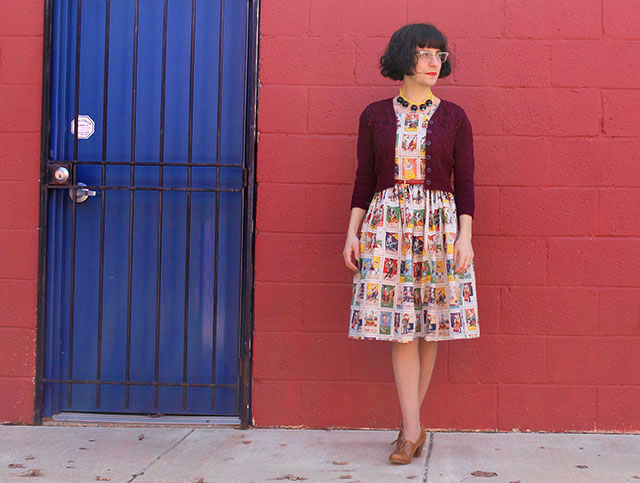 Loteria dress and Dragonflies cardigan