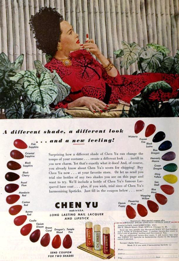 Chen Yu Nail Lacquer & Lipstick, June 1945, via The Bees Knees on Flickr