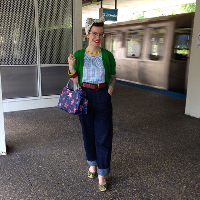 Vintage peasant blouse, Freddies of Pinewoods jeans, handknit boleo, Cath Kidston Purse, Swedish Hasbeen sandals, Orion Leather Co. belt   By Gum, By Golly