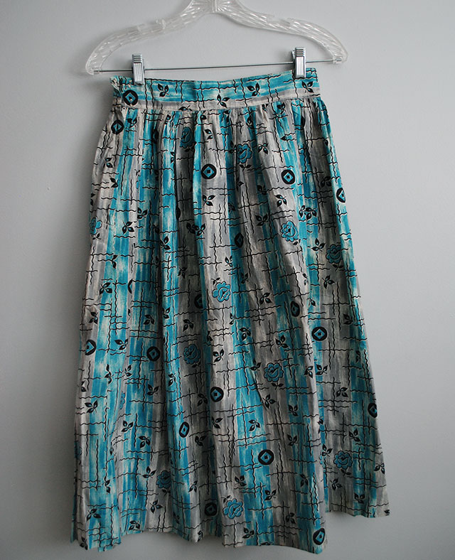 aqua and gray vintage skirt