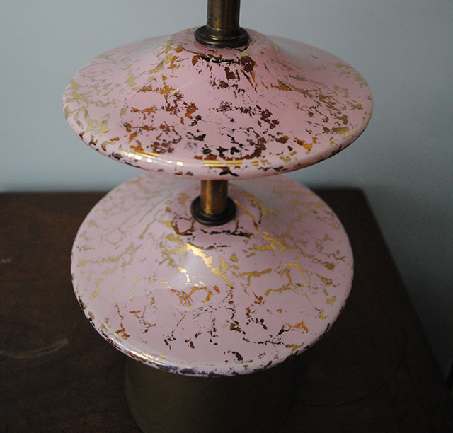 pink and gold mid-century vintage lamp
