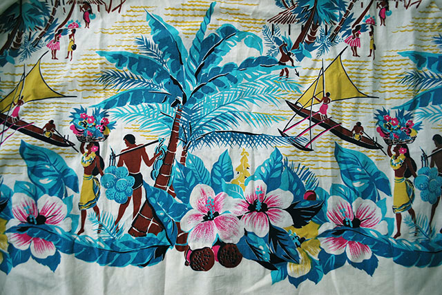 vintage Hawaiian skirt closeup
