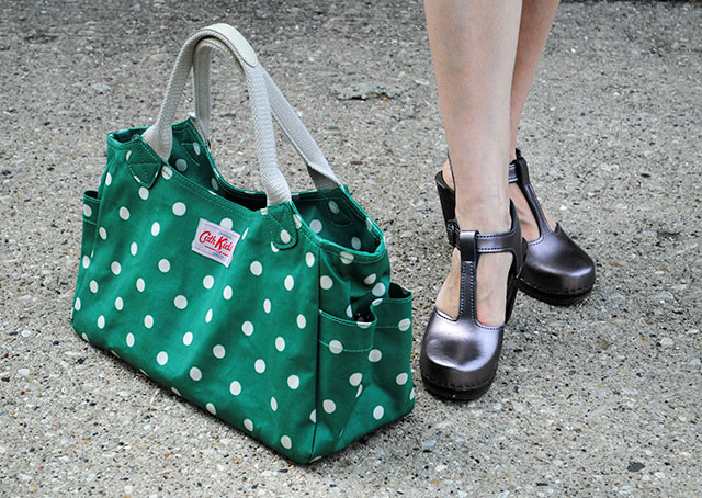 Cath Kidston day bag and pewter Sven Clogs