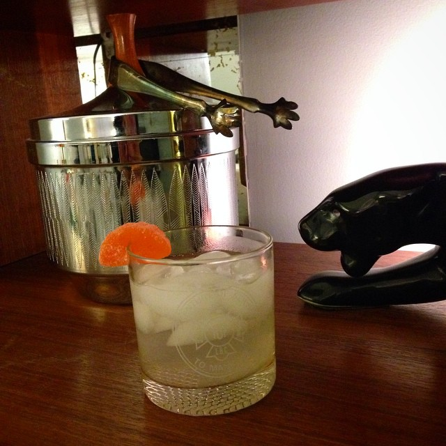 Didn't have all the ingredients for the cocktail I wanted so we 'invented' this one. 1 part vodka, 3/4 part St. Germain, 1/4 part lime juice, and club soda over ice. Gummy orange slice and vintage barware optional. ?
