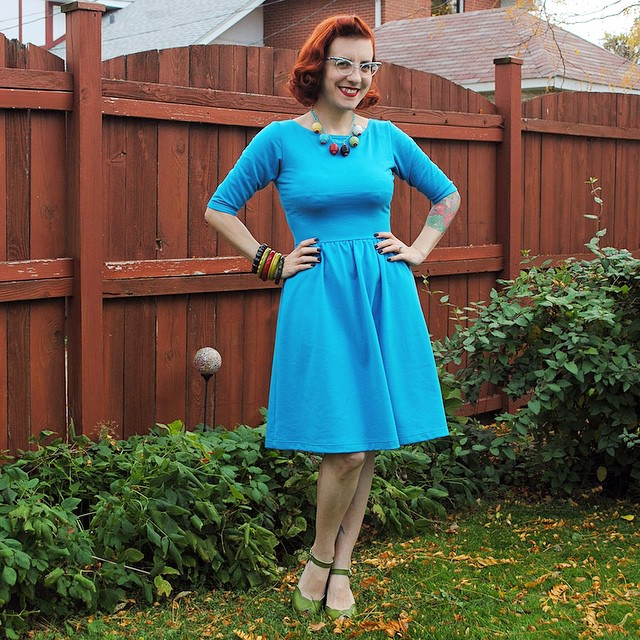 My first knit fabric  @colettepatterns @alysonclair Moneta dress, now blogged! Need to sort out some armhole/sleeve issues which I discussed in the post, but I'm in looove with this pattern. ?? (link in profile) #colettepatterns #moneta