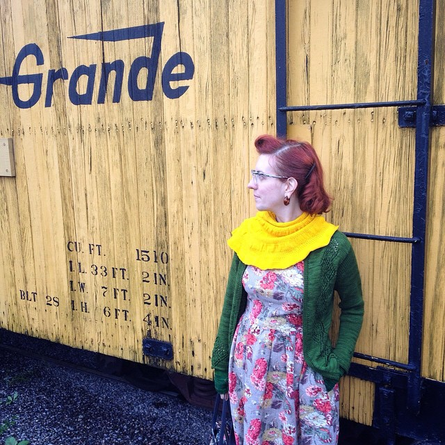 And last pic spam. Because cool yellow refrigerator boxcar and good hair, even after being out in the wind and sleet on the train earlier. Vintage hair miracle!