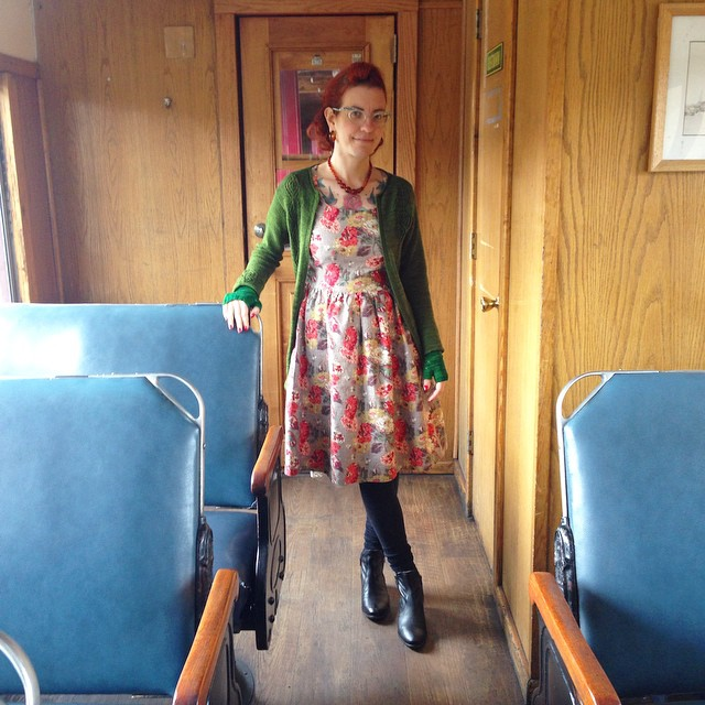 Standing in a coach originally built in 1940, on a steam train. Like you do.