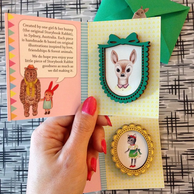 I finally ordered two wooden brooches from @thestorybookrabbit, featuring her art inside. I've loved her work for ages. These showed up from around the world today. They are too cute for words! Thanks, Kelly! ?
