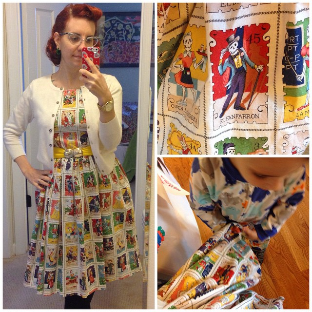 Happy Halloween! Never got a decent photo of my outfit but I wore my Loteria card Emery dress. Our nephew was super interested in pointing out all the different skeletons!