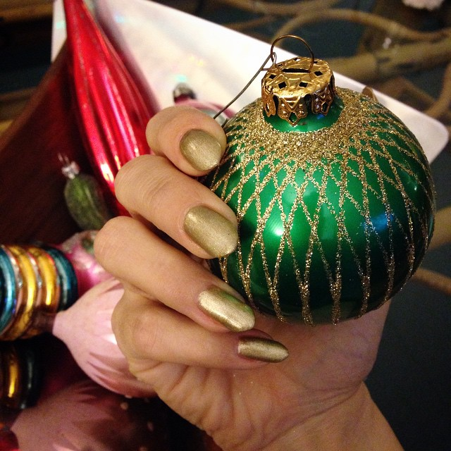 Had to do my nails early since I trashed them painting this weekend. Went for a bit o' bling. Matches this vintage ornament from a friend! #gelnailpolish #gelish