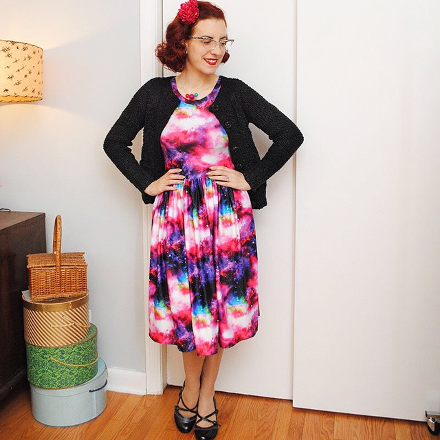 I'm wearing an entire galaxy on my dress, today on my blog! Plus, a cardigan that almost was not. (link in profile)