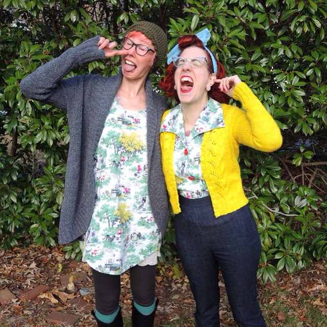 This is what happens when @rochelle_new and I get together. We wear outfits sewn from the same fabric and make ridiculous faces. ??