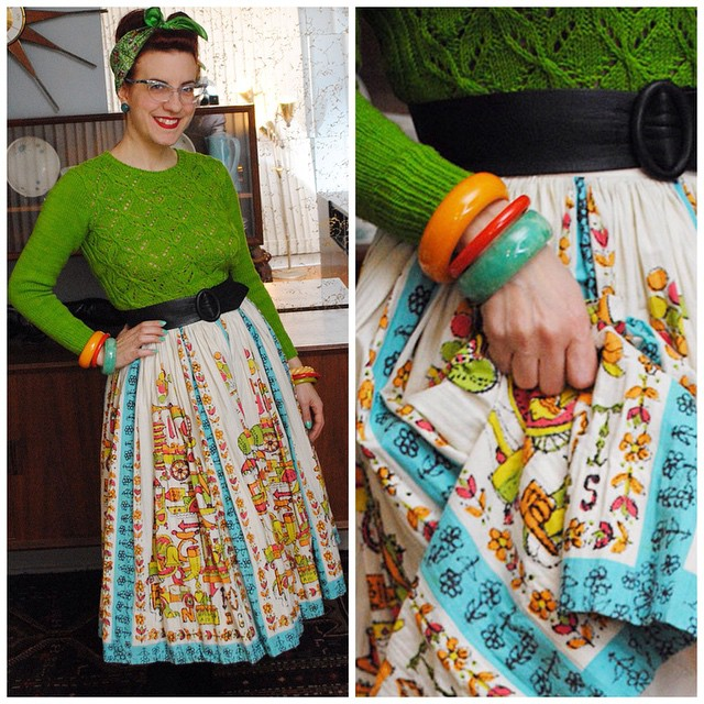 Rest of my outfit tonight, a hand knit pullover (modified Dragonflies by @jojilocat) and a vintage skirt. #ootd #ootdsocialclub #thedailybake