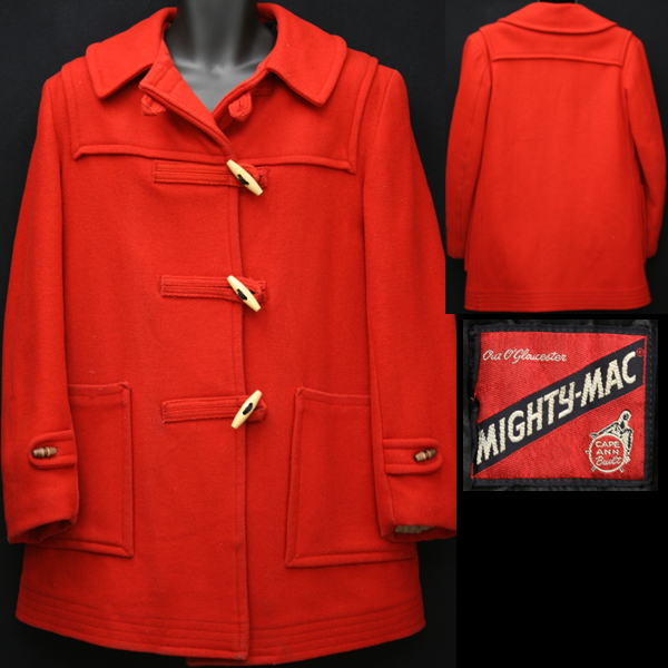 1960s red duffle coat for sale on Vintage Trends