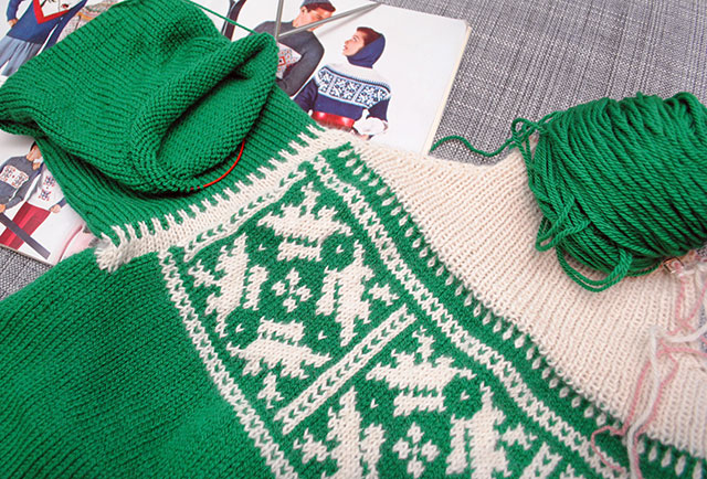 ski pullover in progress