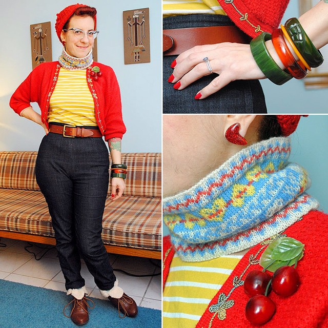 Tell me I'm not the only one who gets on an entire outfit just short of lipstick, then decides to wear something completely different. WAS going to wear this to a pub dinner with friends tonight but I've changed my mind. ? Hat and cowl knit by me (cowl in @susancrawfordvintage's Fenella yarn and still not written up as a pattern yet sorry!), pants made by me, vintage bolero, @dollycooljewels brooch, @glitterparadise earrings, @boden_clothing tee, old Dollhouse boots. #vintagegirlproblems #thedailybake #ootd #ootdsocialclub #glitterparadise #dollycool