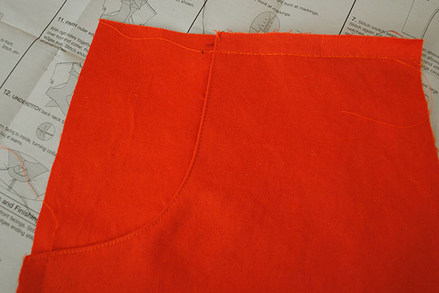 orange sateen pants in progress