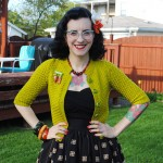 6×4 chartreuse cardigan for a tiki night