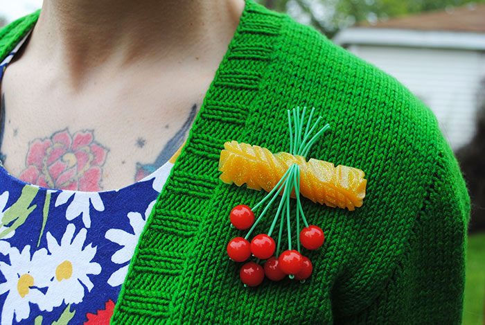 By Gum, By Golly cherries and glitter resin brooch