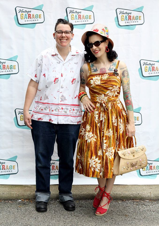 Mel and Tasha at the Vintage Garage, July 2015 (photo credit: Leilani, thriftaholic.com)