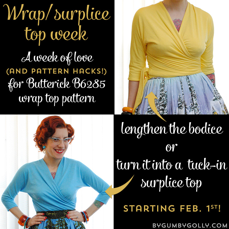Wrap/surplice top week at By Gum, By Golly - starts Feb. 1st