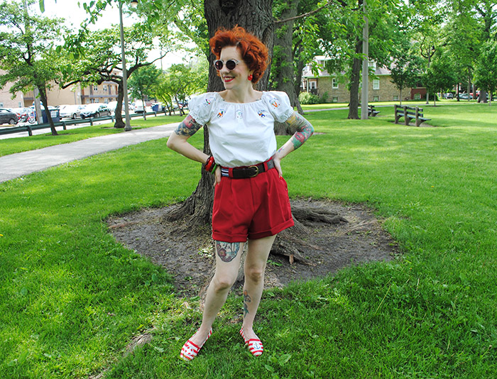 Being silly at the park in my Emmy Design shorts