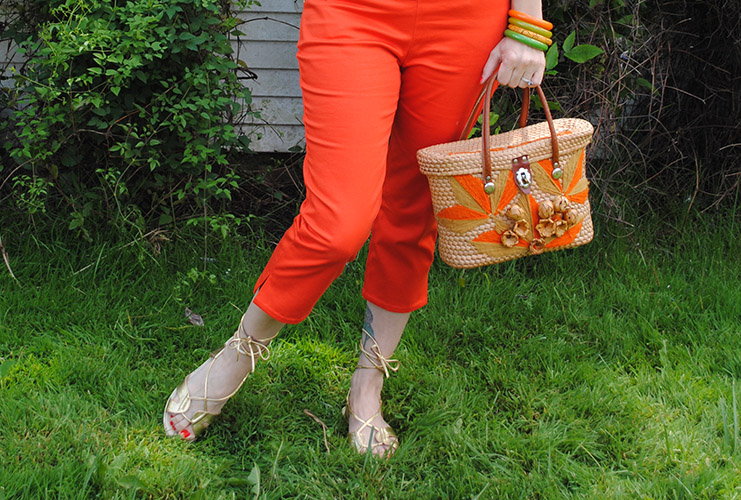 orange capris with side vent
