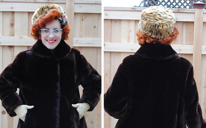 handmade faux fur pillbox hat