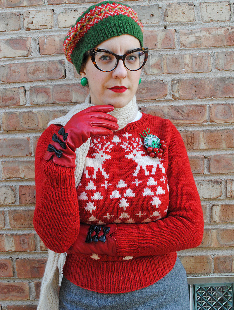 Christmas jumper with refashioned sleeve caps