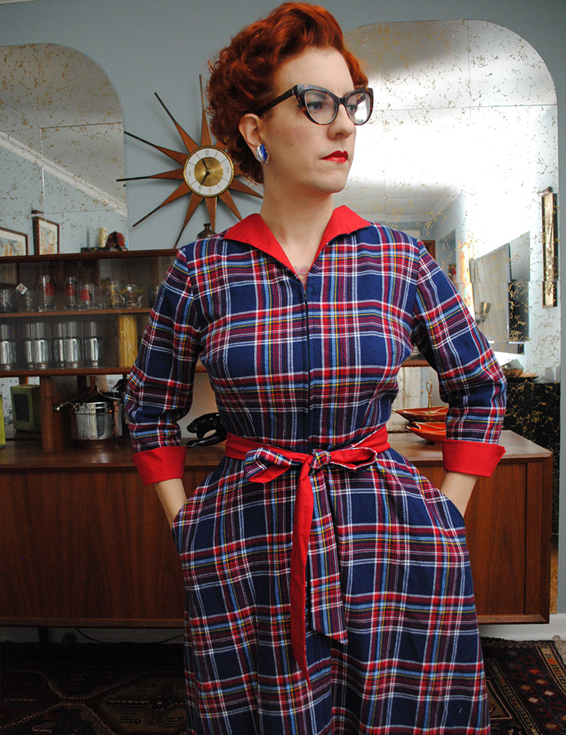 Vintage 1950s Brushed Black Cotton Dress with Plaid Collar and Peek A Book Neckline