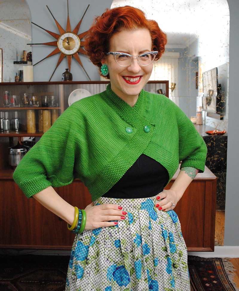 Spring green batwing sleeve bolero | By Gum, By Golly