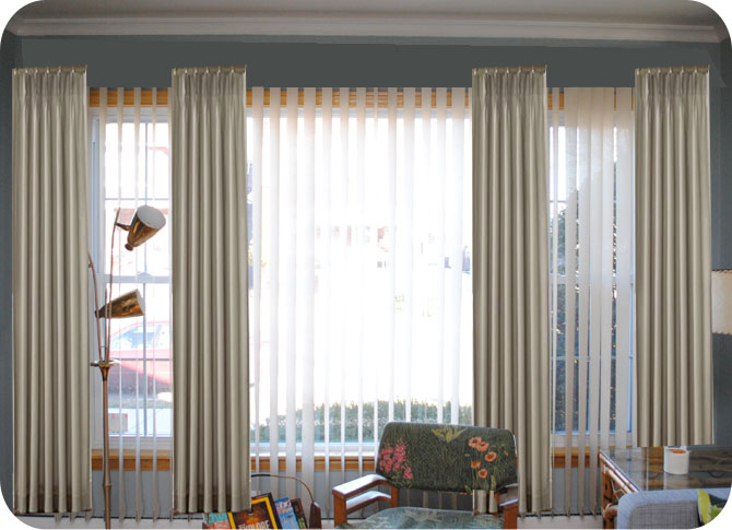 Curtains Ideas bay window curtains rods : Something like this mockup (but obviously without our vertical blinds ...
