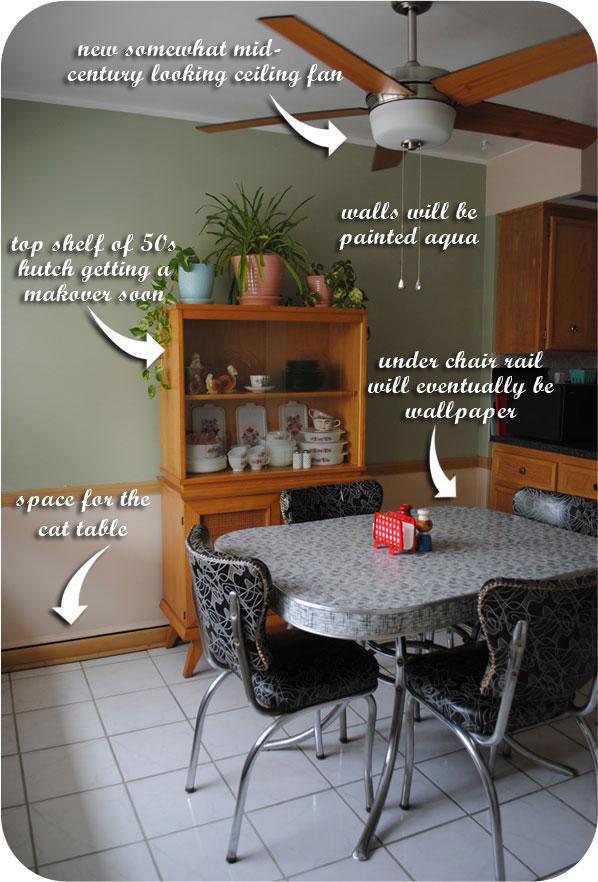 Mid century dining space for a cat by gum by golly do you like our ceiling fan i hate that we need them but we desperately do since we get no cross ventilation so when my dad was visiting he replaced two mozeypictures Image collections