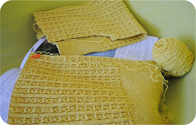 VKC: Quick tip on un-knitting (and my work-in-progress) By Gum, By Golly