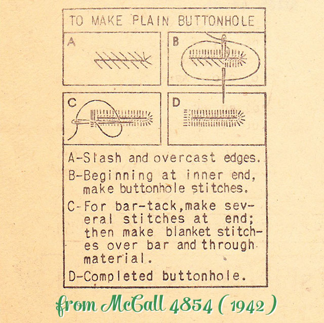 working plain buttonholes by hand (1942)