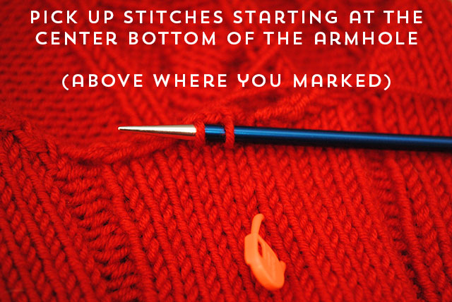pick up stitches starting at center bottom of armhole