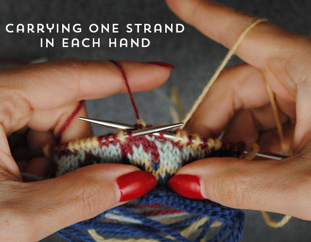 carrying one strand per hand