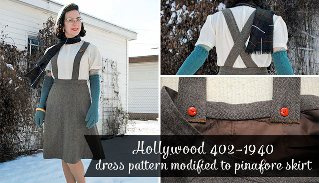Hollywod 402 dress, modified to pinafore skirt
