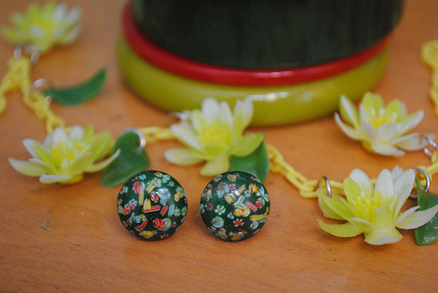 vintage millefiori earrings | By Gum, By Golly